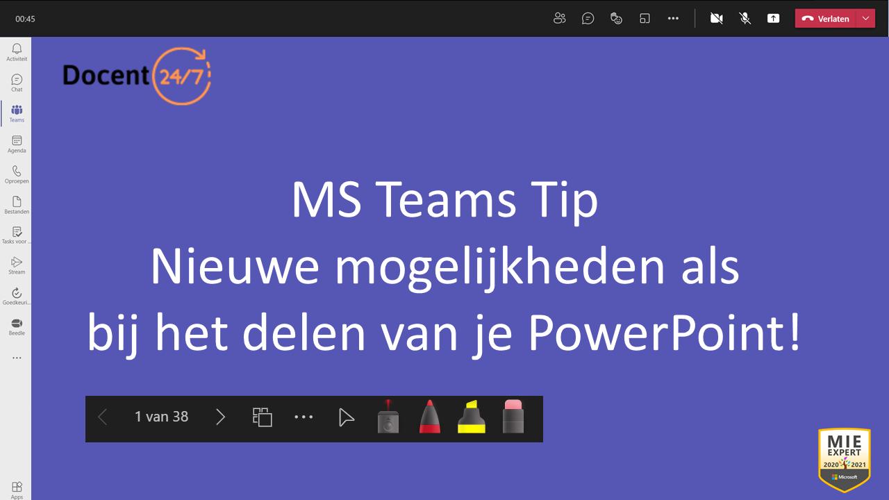 Nieuwe opties tijdens het delen van je PowerPoint in MS Teams!